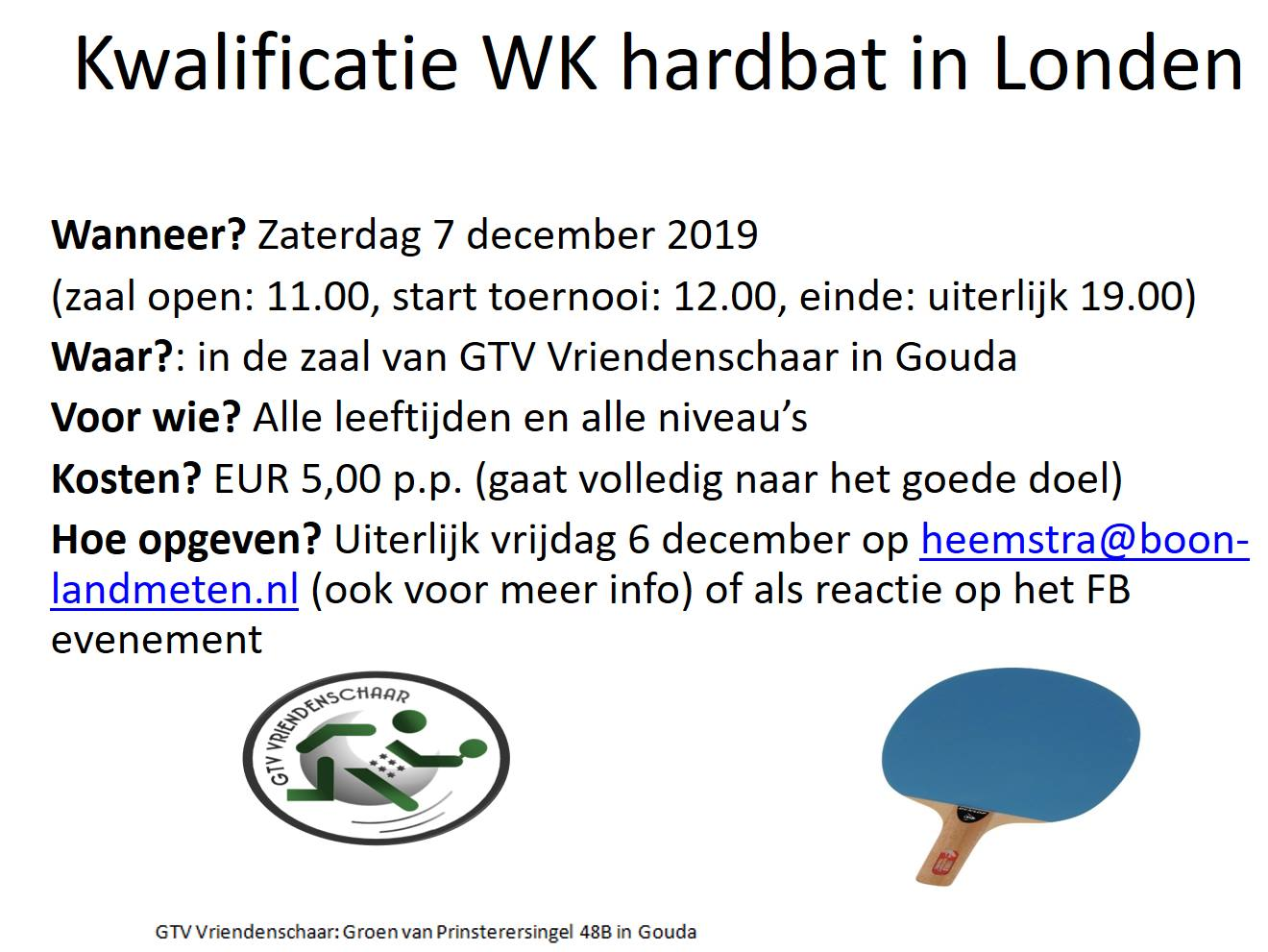 Kwalificatie WK Hardbat 7 december 2019